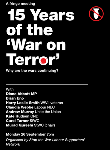 Brian Eno to speak at the Stop the War Coalition meeting