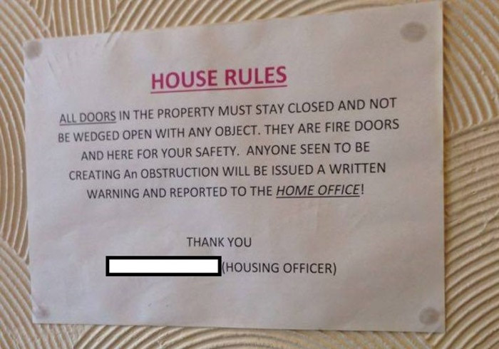 House rules at an accommodation block for asylum seekers.